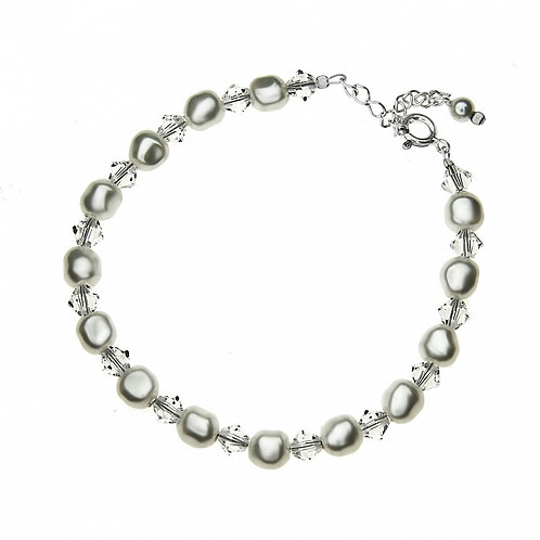 ALICE Ecru Swarovski Teardrop Pearl and Crystal Bracelet
