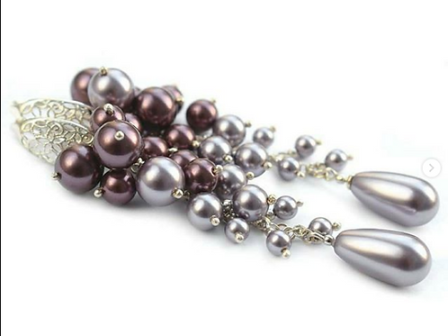 ROSALIA Heather Ombre with Mauve & Satin Grey Swarovski Pearl Earrings