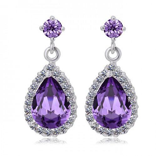 CHANTALE Vintage Violet Crystal Teardrop Earrings