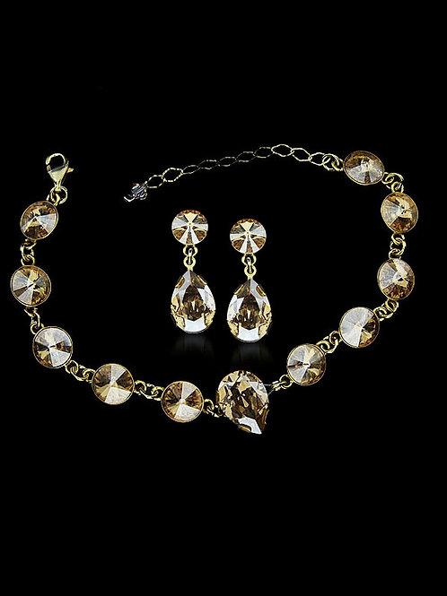 GOLDENTEA Swarovski Crystal Bracelet & Earring Set