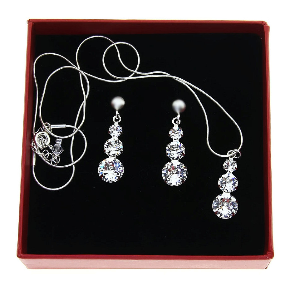 CRYSTAL White Diamond Swarovski Necklace and Earring Set