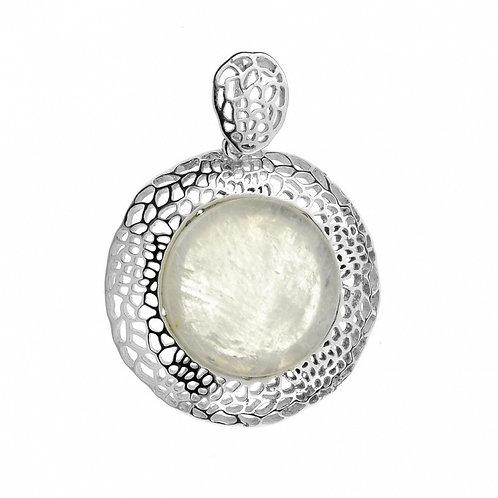 Moonstone Vintage Inspired Rhodium-plated Elegant Pendant