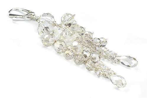JASMINE Victorian Style Silver Shade Swarovski Crystal Long 9cm Earrings