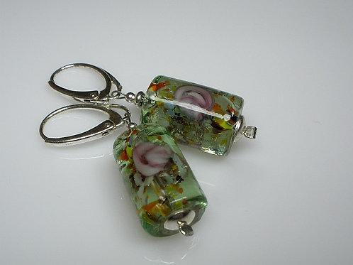 FLOWERS Green Venetian Glass Silver Earrings