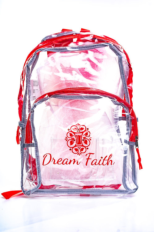 Clear Backpack colors: Red, Turqouise, and Black