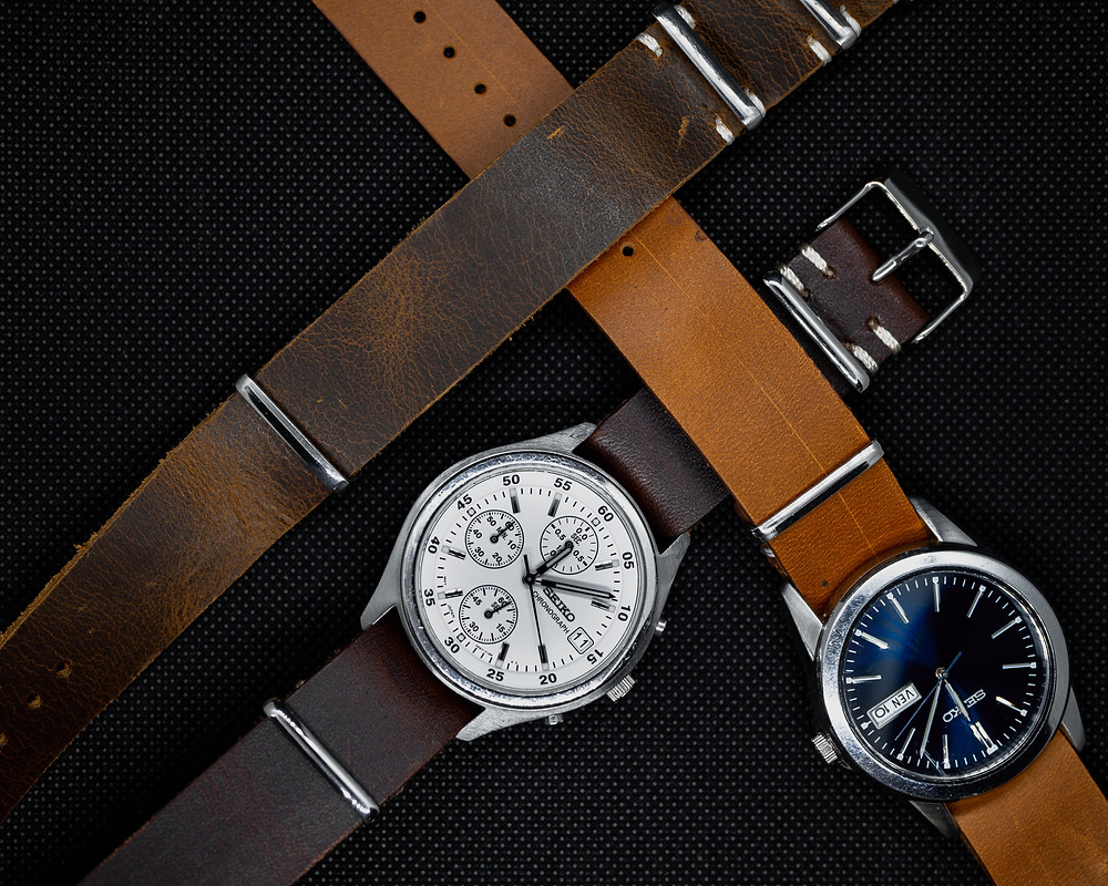 Seiko Chronograph SKS199 V657-7100 & Seiko 7N43-0AM0 with Vintage Nato Distressed Leather Brown & Tanned