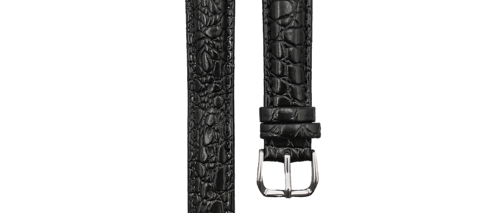 "Crocodile Embossed Leather ""Black"""