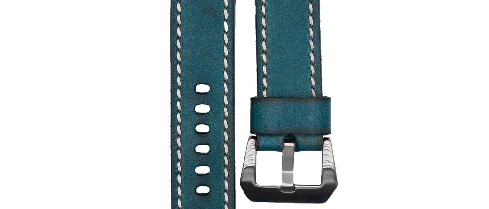 """Single-Looped Leather """"Turquoise Blue"""""""