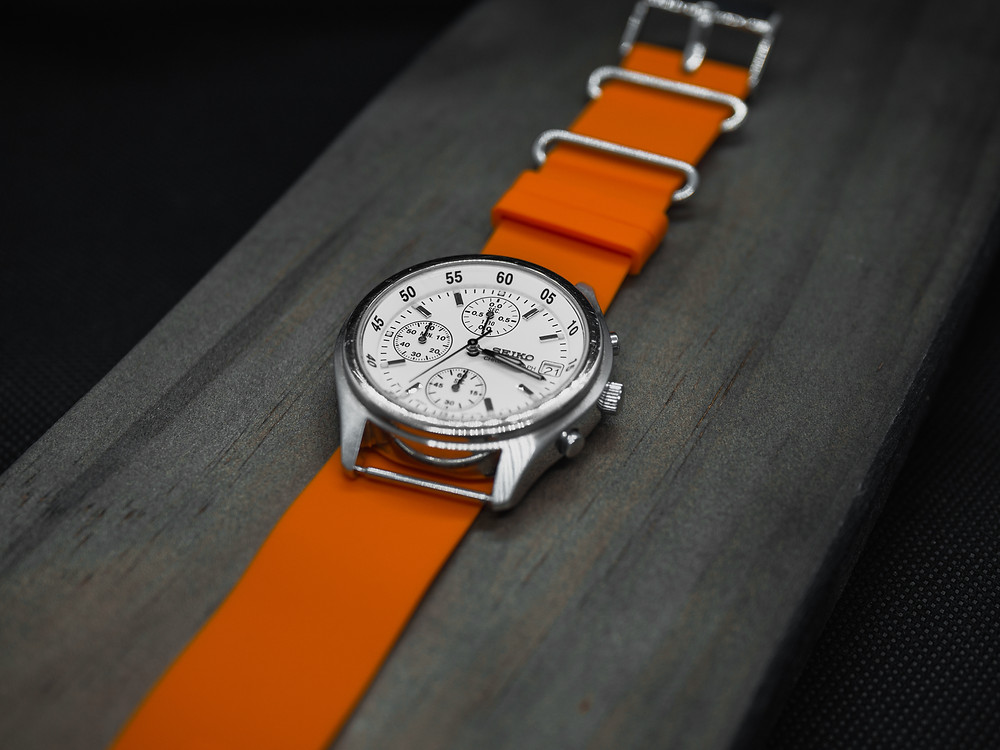 Seiko Chronograph Watch with Rubber Nato Orange Strap