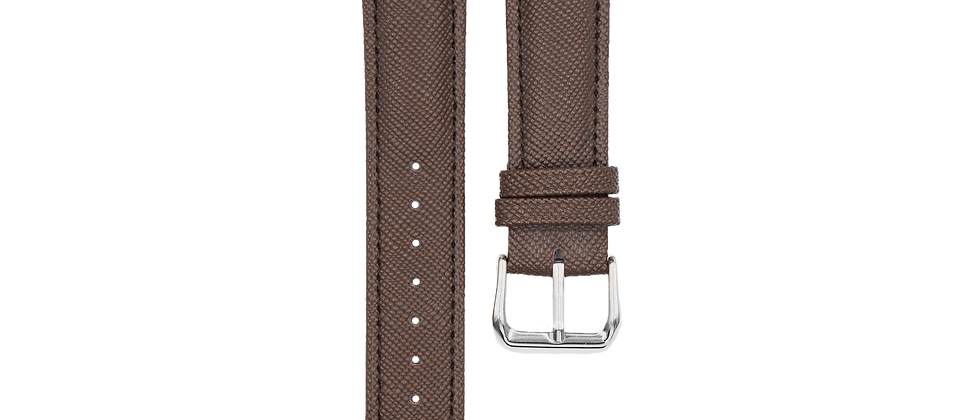 "Saffiano-Grained Embossed Leather ""Brown"""
