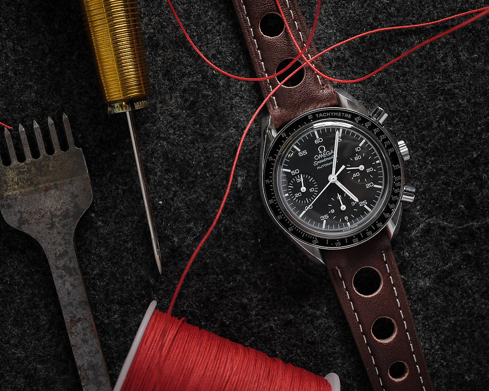 "A Omega Speedmaster Automatic ""Reduced"" (3510.50) with Rally MK 1/I Racing Leather Strap"