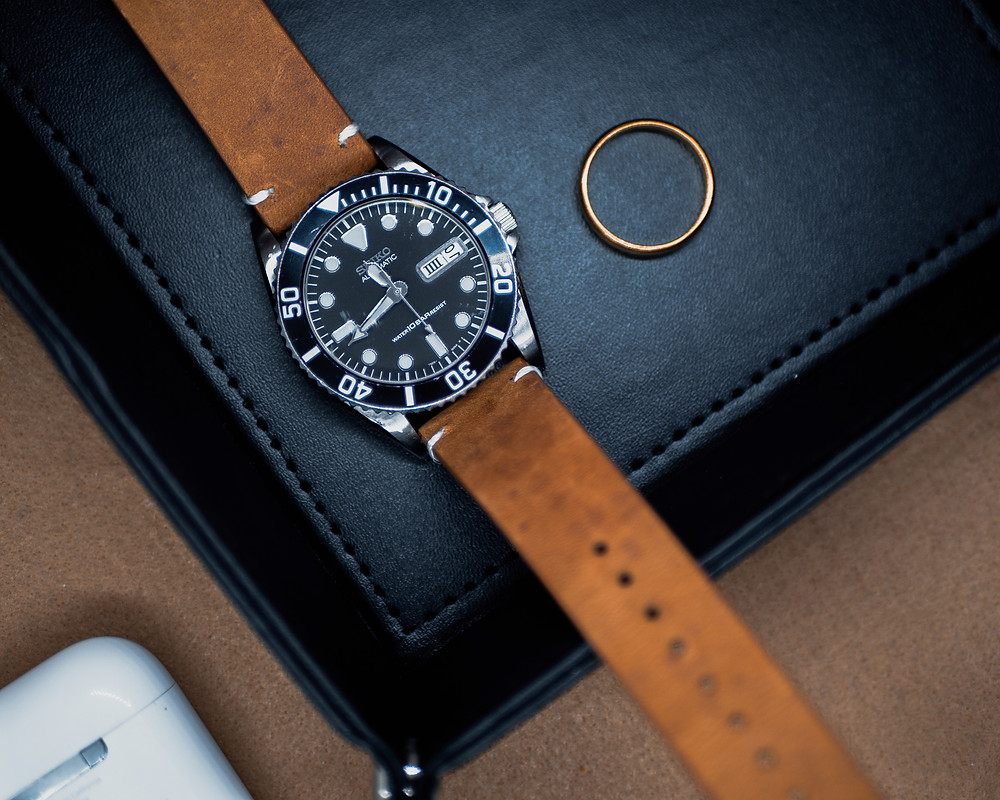 A Seiko Diver Watch with Vintage Stitched Leather