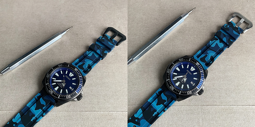 "A Seiko Samurai ""Save The Ocean"" (SRPD09K1) Diver with Urban Camo ""Blue"" Watch Strap and a Spring Bar Removal Tool"
