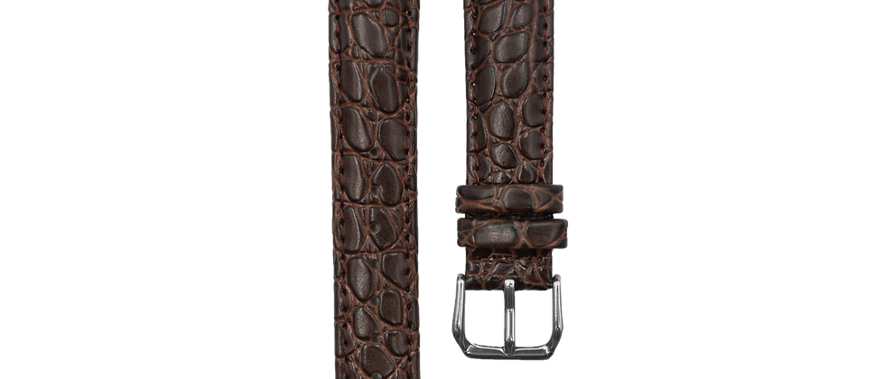"Crocodile Embossed Leather ""Brown"""