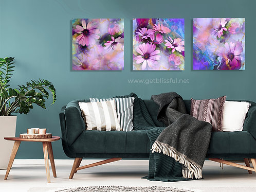 Abba's Flowers {10x10 Canvas} Set of 3