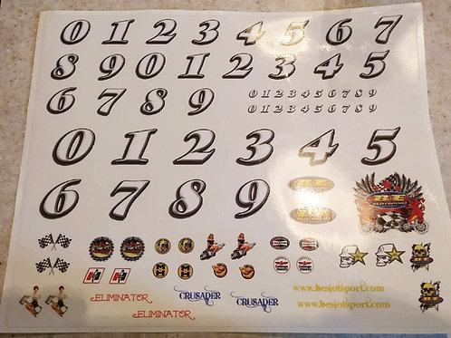 Hardbody Stock Cars Sticker Sheet by B&E -1/24 scale sticker number sheet