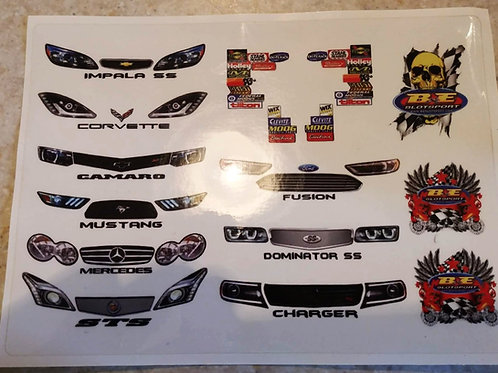 Dirt Late Model stickers sheet / Pavement Late Model Stickers - Slot car sticker