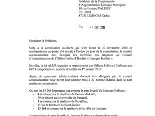 Gouvernance de Limoges Habitat : j'écris au Président et aux maires de l'agglo