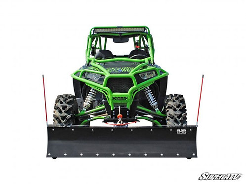 Polaris RZR connected to SuperATV Plow Pro Heavy Duty Snow Plow front view