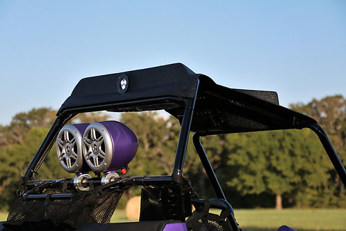 Purple AudioFormz MINI Aluminum Tower Speaker rear mounted on UTV
