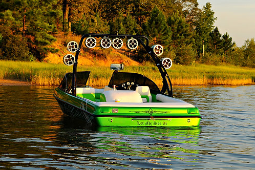 AudioFormz HLCD Fiberglass Tower Speakers mounted on green wake boarding boat