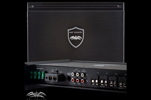 Wet Sounds Sinister Series SDX4 - 4 channel Amplifier top and back wiring view