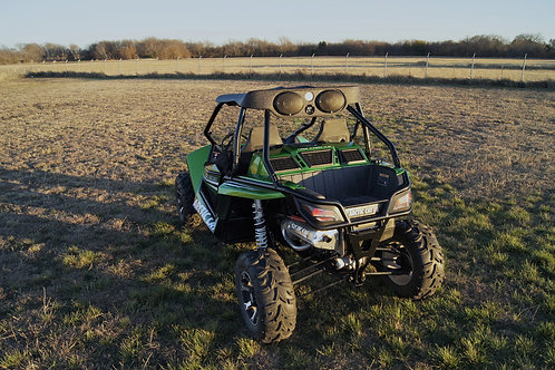 AudioFormz Artic Cat Wildcat Stereo Top System mounted on green Articat UTV back view