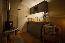 Shepherds Hut Kitchen and Stove