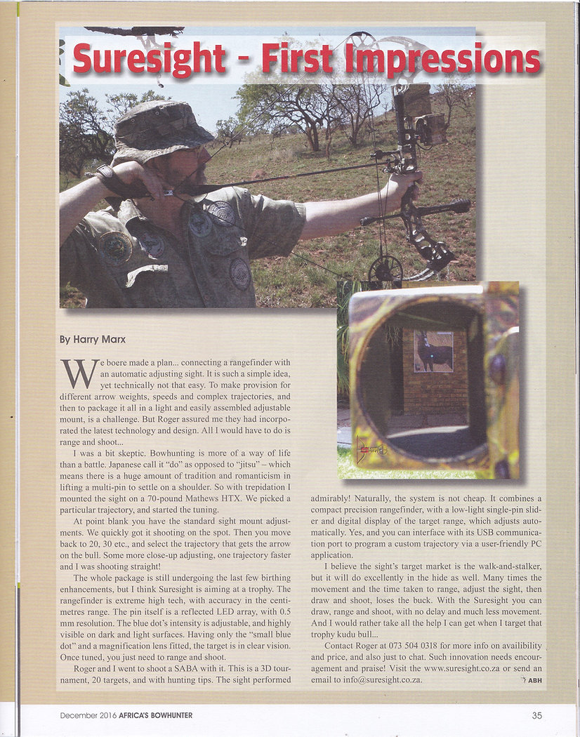 Africa's Bowhunter magazine article before garmin, Garmin Xero, Automatic Bow Sight, Bow Hunting, Hunting, Archery, Shooting, target distances, aim, shot, sight tapes