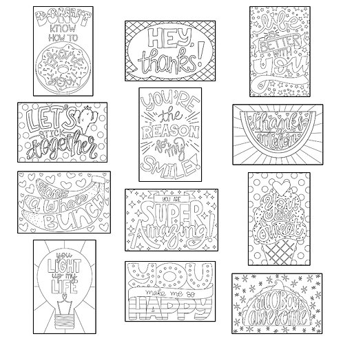 ColoringDeck Thankful Thoughts