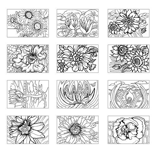 ColoringDeck Floral Fun