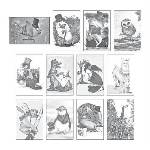 ColoringDeck Gentlemen Animals