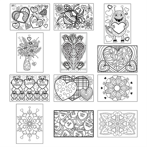 ColoringDeck Hearts and Flowers