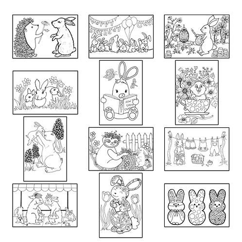 ColoringDeck Busy Bunnies