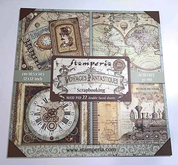 Kit Scrap STAMPERIA Maxi Pad Voyages Fantasiques