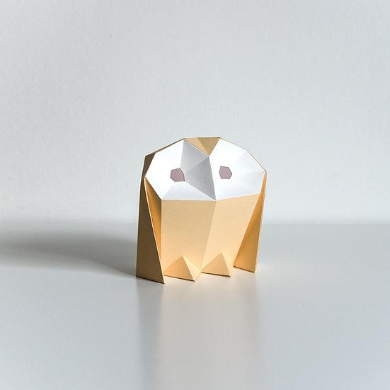 Papercraft Kit Barn Owl Caramel+cotton white