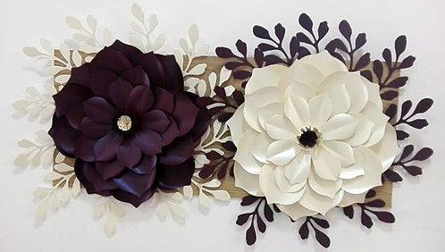 Painel de flores Púrpura e Branca