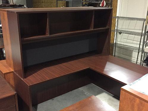 Mahogany L desk with hutch