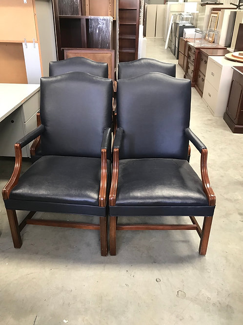 Blue Leather Guest Chairs