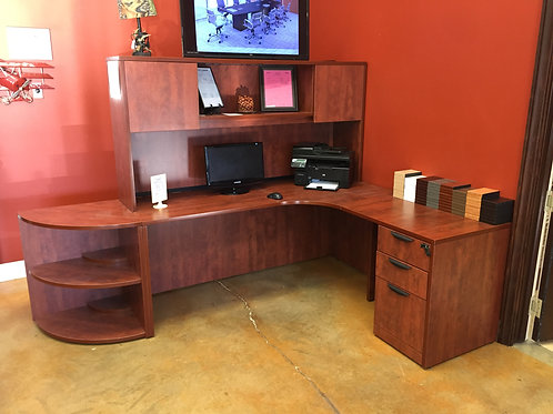 "Cherry Credenza and Hutch ""L"" Desk"