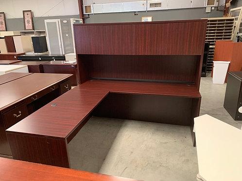 "Used Mahogany ""L"" Desk with Hutch"