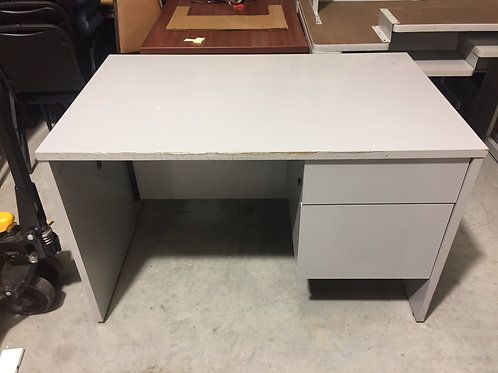 Gray Desk with Drawer and File