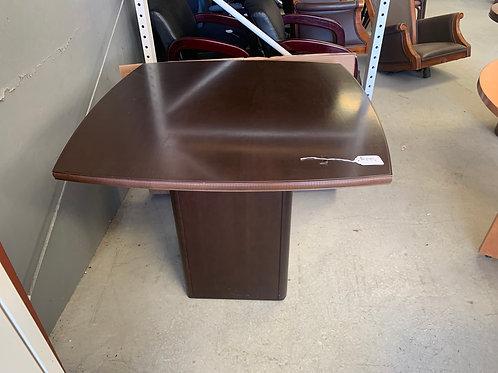 36 inch wide espresso boat shape pedestal table