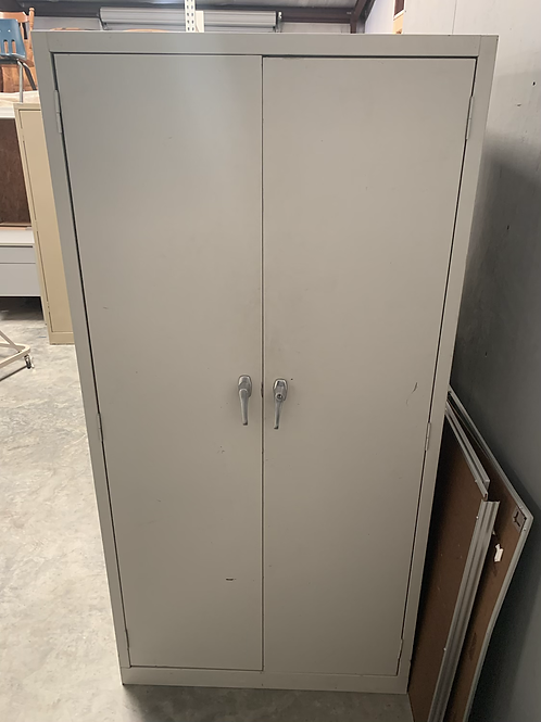Putty colored storage cabinet