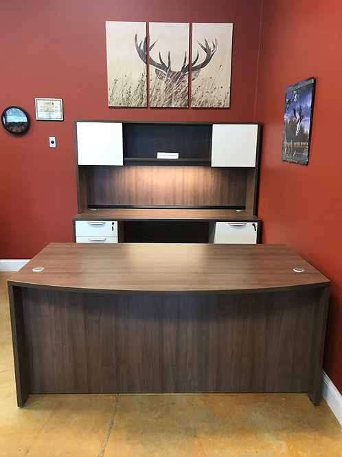 Bowfront Desk with Credenza with Hutch