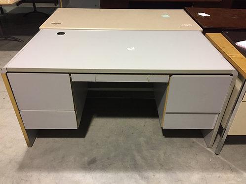 Gray round edged desk