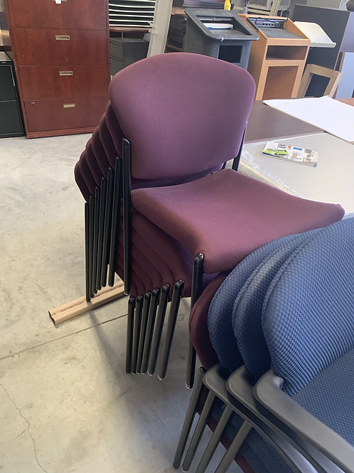 Stackable maroon color chairs