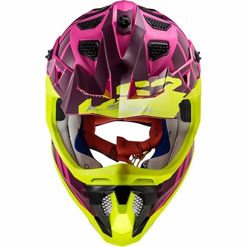 Casco Motocross LS2 Subverter Troop Rosa / Amarillo