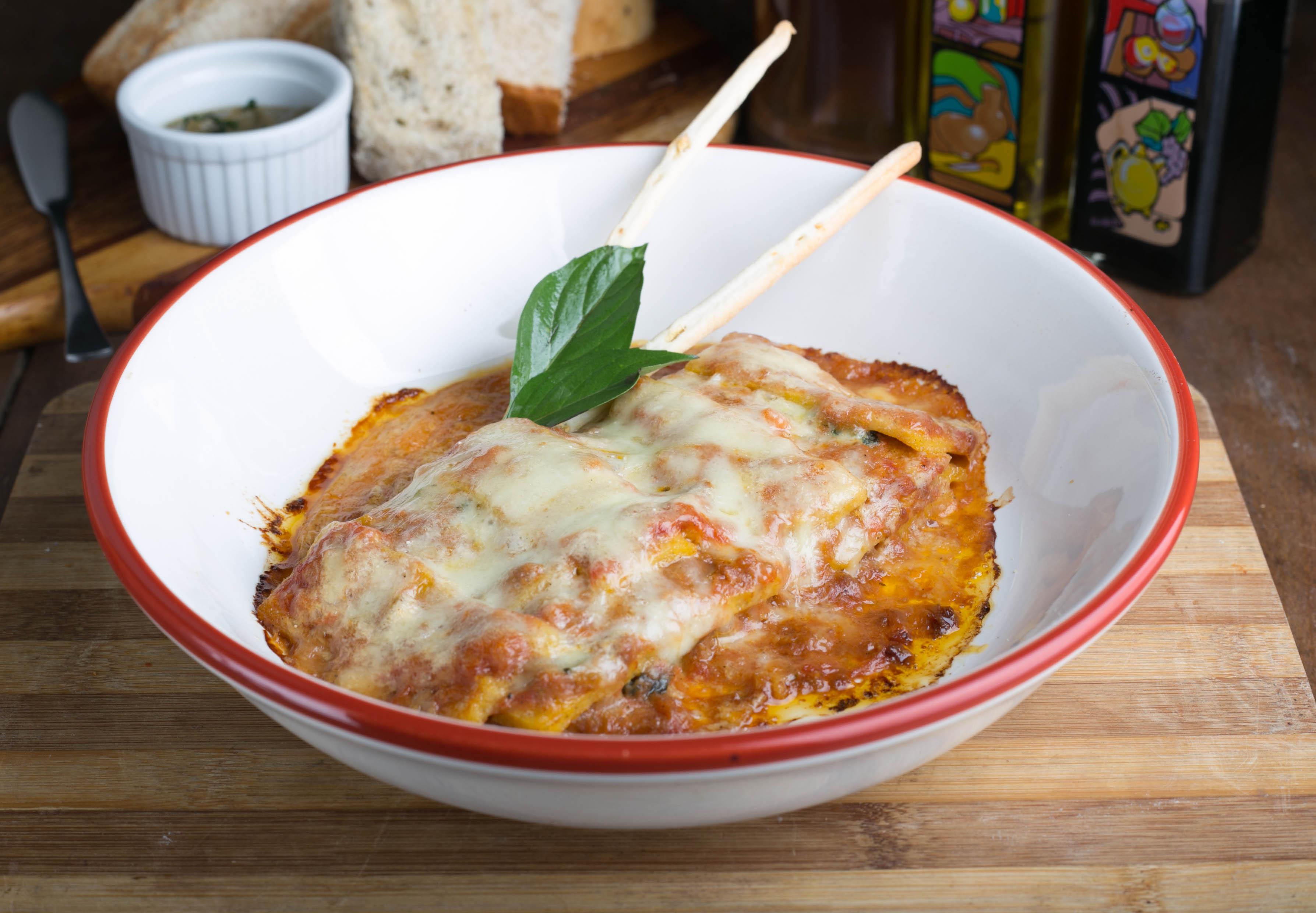 Baked polenta and beef lasagna with taleggio bechamel.jpg