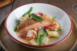 Baked Salmon and Sauteed Shrimps